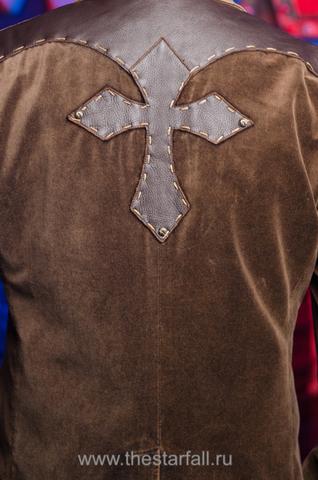 Пиджак Affliction A4214 аппликация на спине крест из натуральной кожи