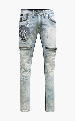 Джинсы The Saints Sinphony EMBROIDERED WOLF BIKER JEAN BLEACH BLUE