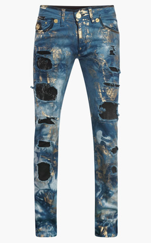 Джинсы The Saints Sinphony ELECTRIC BLUE AND GOLD MULTI RIPPED DENIM