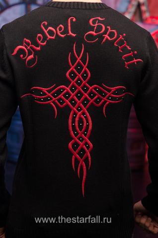 Пуловер Rebel Spirit FTZH11897BLK вышивка на спине крест