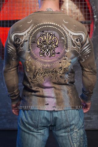 Remetee   Пуловер мужской Santa Muerte RM184 от Affliction коричневый спина
