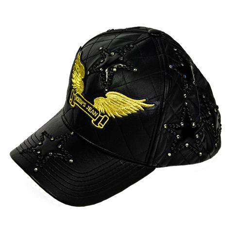 Бейсболка Robin's Jean BLACK QUILTED LEATHER CAP WITH STUDDED STAR