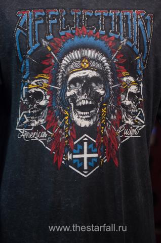 Affliction | Мужская футболка лонгслив AC WILD JACKAL A16872 принт спереди черепа индейцев