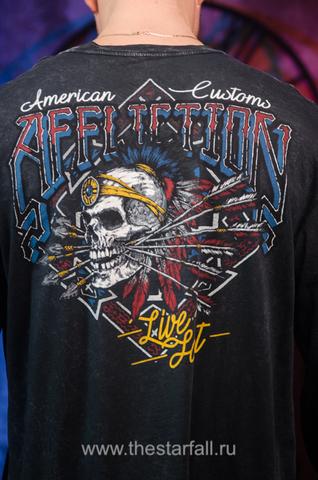 Affliction | Мужская футболка лонгслив AC WILD JACKAL A16872 принт на спине