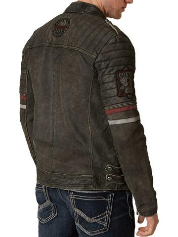 Куртка кожаная Affliction Desert Roads 110OW253 коричнево цвета спина