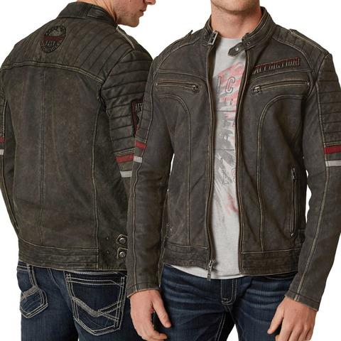 Куртка кожаная Affliction Desert Roads 110OW253 вид с двух сторон