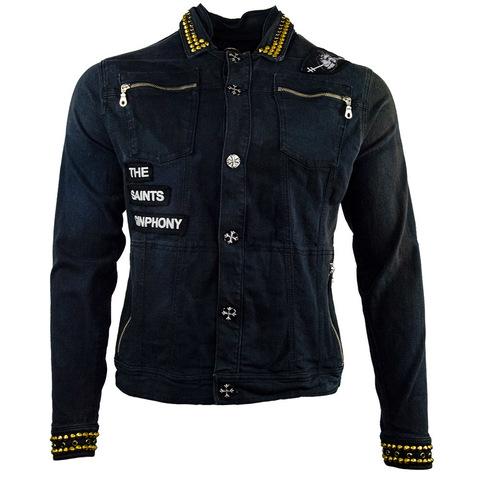 Куртка джинсовая The Saints Sinphony BONES JACKET BLACK AND GOLD TSJ044 перед
