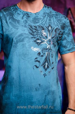 Футболка Xtreme Couture Loyal Following от Affliction синяя принт спереди
