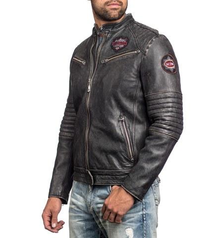 Куртка кожаная Affliction FULL MEASURE JACKET 110OW148короткого фасона левый бок