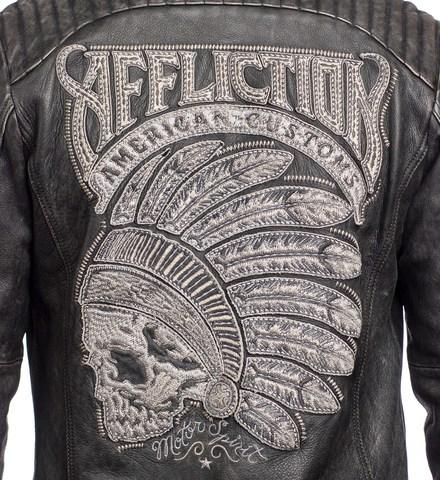 Куртка кожаная Affliction FULL MEASURE JACKET 110OW148 с вышивкой названия бренда на спине