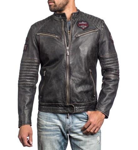 Куртка кожаная Affliction FULL MEASURE JACKET 110OW148 черного цвета с нашивками перед