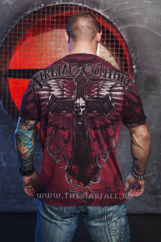 Xtreme Couture   Футболка мужская Hell Born X1383 от Affliction спина на модели