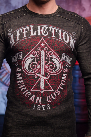 Affliction | Пуловер мужской двусторонний URSA MAJOR DUSK A20257 обратная сторона принт спереди