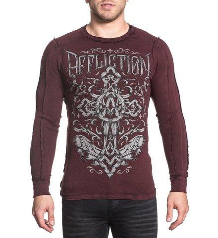Affliction | Пуловер мужской двусторонний CHAINED EAGLE A18057 перед на модели