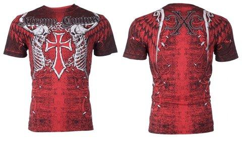 Xtreme Couture   Футболка мужская AFTERSHOCK RED X519 от Affliction спина и перед