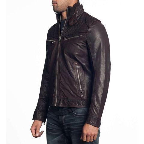 Affliction | Куртка мужская кожаная SHOCK VALUE Jacket 110OW007 левый бок