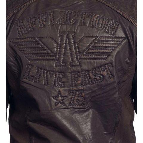 Affliction | Куртка мужская кожаная SHOCK VALUE Jacket 110OW007 вышивка на спине