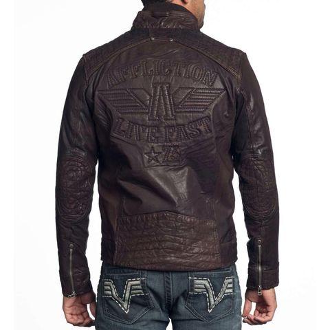 Affliction | Куртка мужская кожаная SHOCK VALUE Jacket 110OW007 спина