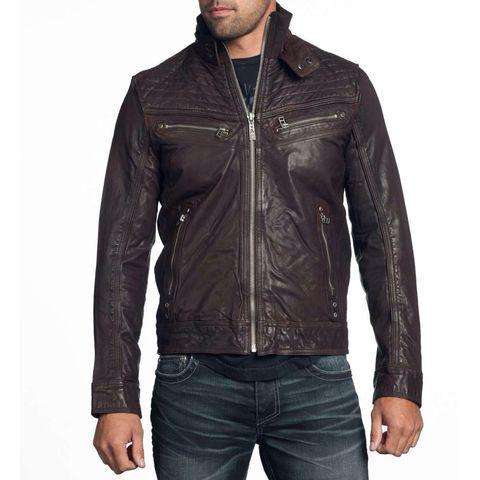 Affliction | Куртка мужская кожаная SHOCK VALUE Jacket 110OW007 перед