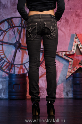 Джинсы Affliction RAQUEL STUD CUTOUT FLAP BLACK SPARKLE