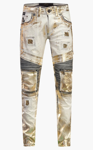 Джинсы The Saints Sinphony HEXAGRAM GOLD FOILED BIKER JEANS