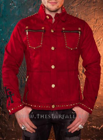 Красная джинсовая куртка The Saints Sinphony OUT FOR BLOOD TSJ004 перед на модели
