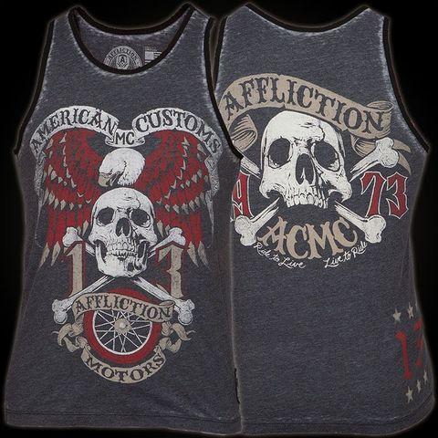 Affliction | Майка мужская AC Jolly Roger перед и спина