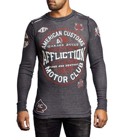 Affliction | Пуловер мужской двусторонний Cast Into A11876 обратная сторона перед на модели