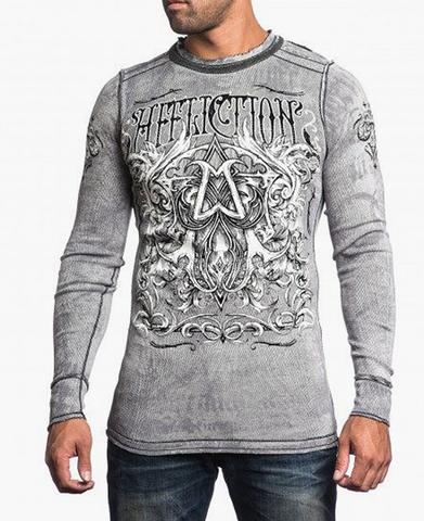 Affliction | Пуловер мужской двусторонний Cast Into A11876 перед на модели