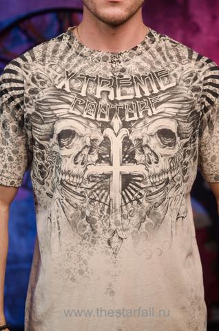 Xtreme Couture | Футболка мужская MATSUNO X1637 от Affliction принт спереди крест и черепа