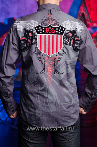 Мужская рубашка Rebel Spirit LSW121392 спина на модели