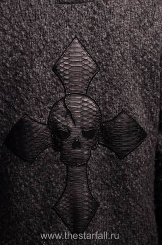 МУЖСКОЙ КАРДИГАН С КАПЮШОНОМ ОТ 7.17 STUDIO LUXURY ST2256101 аппликация из кожи питона крест и череп