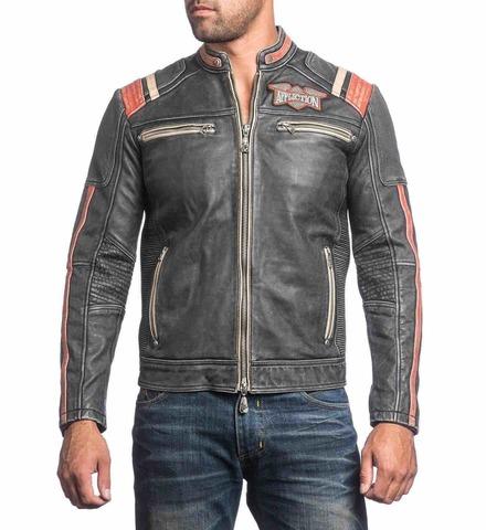 Куртка кожаная Affliction Speed Shop 110OW227 перед на модели