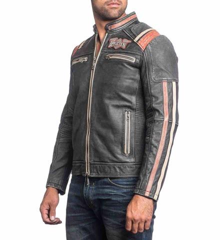 Куртка кожаная Affliction Speed Shop 110OW227 левый бок