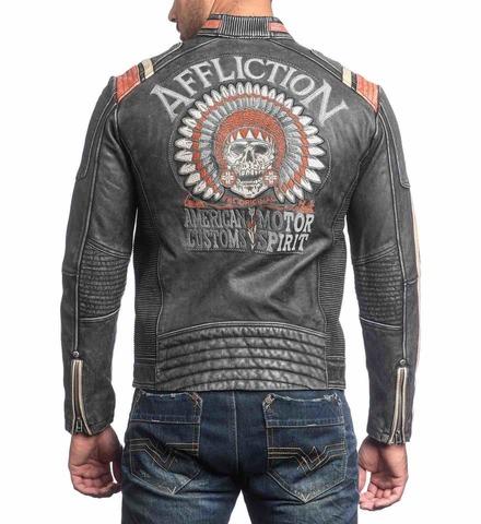 Куртка кожаная Affliction Speed Shop 110OW227 вид сзади на модели