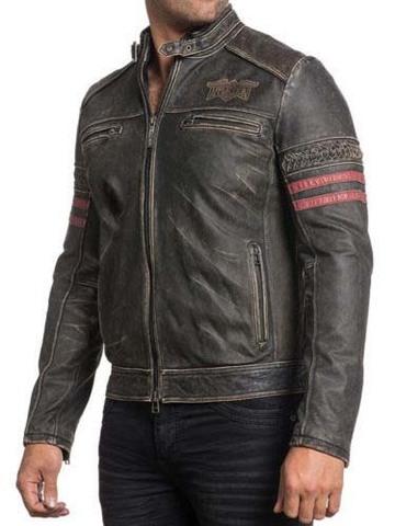 Куртка кожаная Affliction Born To Race 110OW270 с красными полосками на руках перед