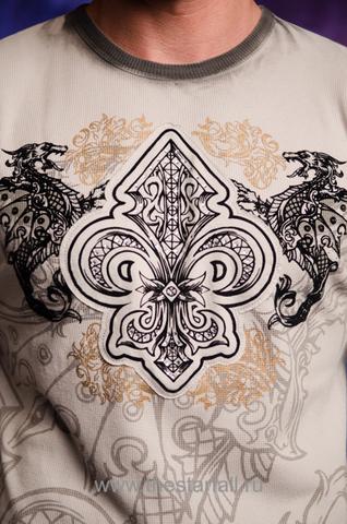 Пуловер Rebel Spirit TH121396 передний принт геральдическая лилия и драконы
