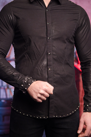 The Saints Sinphony | Рубашка мужская с эффектом вощения TS228013 правый бок
