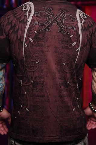 Футболка AFTERSHOCK BURGUNDY Xtreme Couture от Affliction бордового цвета