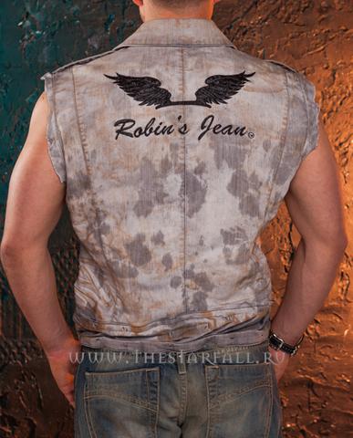 Джинсовый жилет Robin's Jean RJ47 вышивка крылья на спине