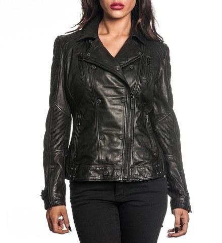 Affliction | Куртка женская кожаная Black Premium Live Fast Jacket 111OW025 перед