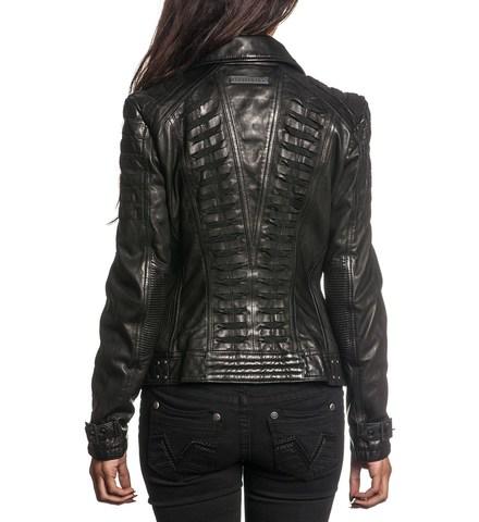 Affliction | Куртка женская кожаная Black Premium Live Fast Jacket 111OW025 спина