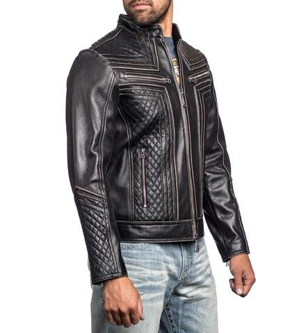 Affliction   Куртка мужская кожаная LEMMY LEATHER JACKET 110OW145 правый бок