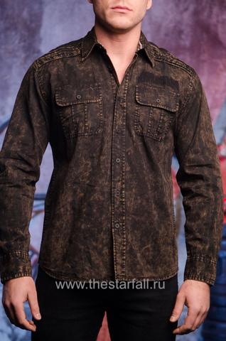 Affliction | Рубашка мужская Replica in Black/Brown 110WV716 длинный рукав перед на модели