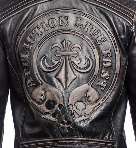 Affliction   Куртка мужская кожаная LEMMY LEATHER JACKET 110OW145 принт на спине 2 черепа