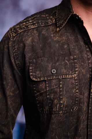 Affliction | Рубашка мужская Replica in Black/Brown 110WV716 передний карман