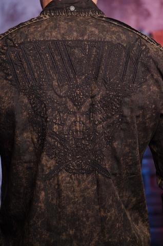 Affliction | Рубашка мужская Replica in Black/Brown 110WV716 вышивка на спине на модели
