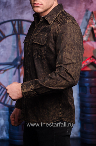 Affliction | Рубашка мужская Replica in Black/Brown 110WV716 левый бок