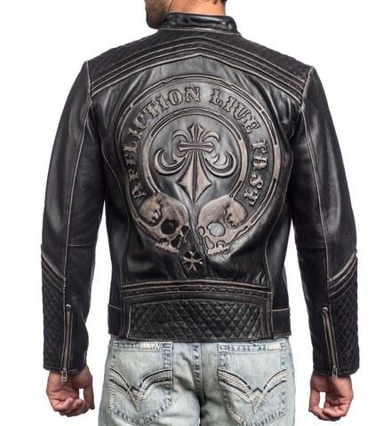 Affliction   Куртка мужская кожаная LEMMY LEATHER JACKET 110OW145 спина на модели