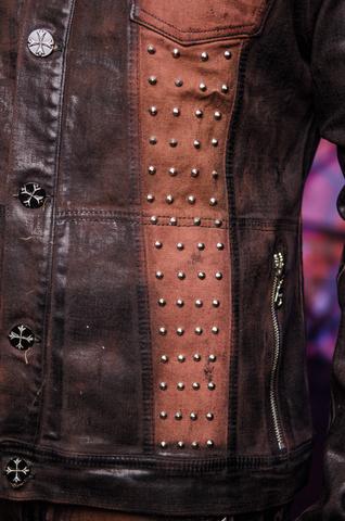 Куртка мужская джинсовая The Saints Sinphony BROWN SHIELD TSJ007BRB клёпки спереди